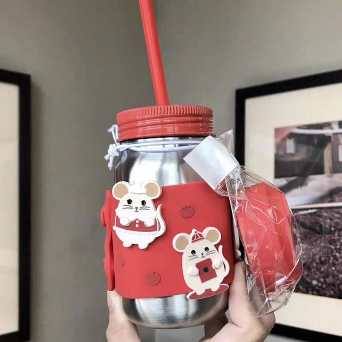 Starbucks China - New Year 2020 Classic Red - 16oz Little Mice Stainless Steel Mason Jar with Straw
