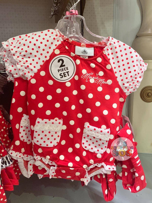 DLR - Minnie Baby Bodysuit 2-Piece Set (Red Polka Dot)