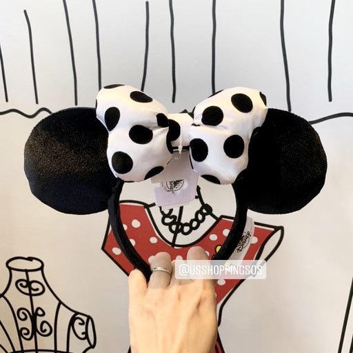 DLR - Minnie Black & White Velvet Ear Polka Dot Bow Headband