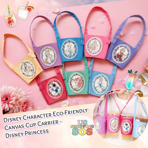 Taiwan Exclusive - Disney Character Eco-Friendly Canvas Cup Carrier - Disney Princess