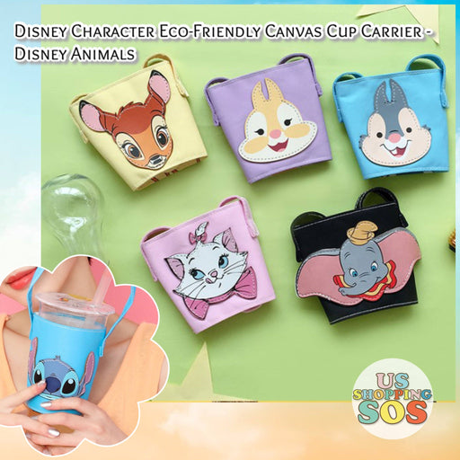 Taiwan Exclusive - Disney Character Eco-Friendly Canvas Cup Carrier - Disney Animals