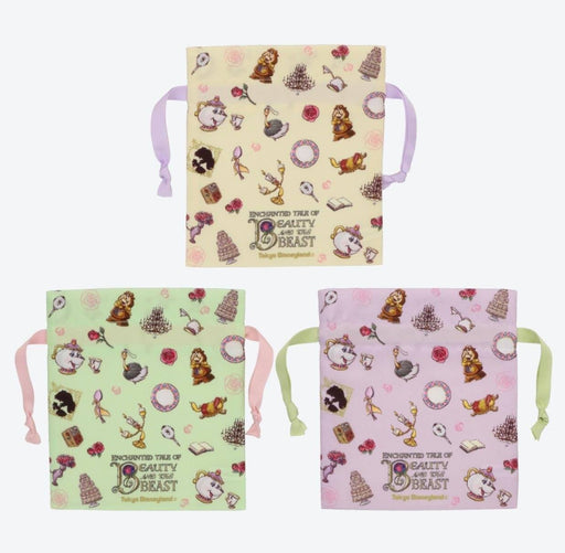 TDR - Enchanted Tale of Beauty and the Beast Collection - Drawstring Bag All-Over-Print Set of 3