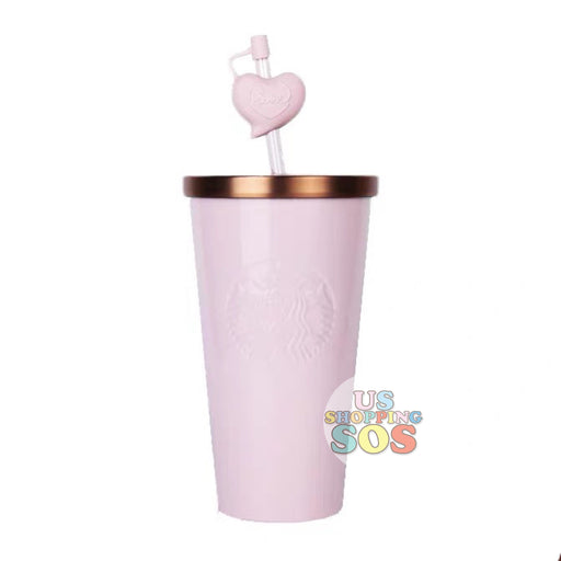 Starbucks China - Valentine 2020 - Love & Peace Heart Straw Pink Cold Cup (591ml)