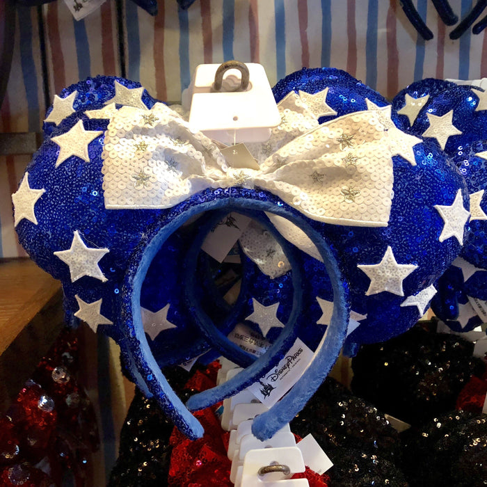 DLR - Minnie Star Blue Sequin White Bow Headband