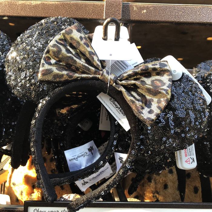 DLR - Minnie Black Sequin Leopard Bow Headband