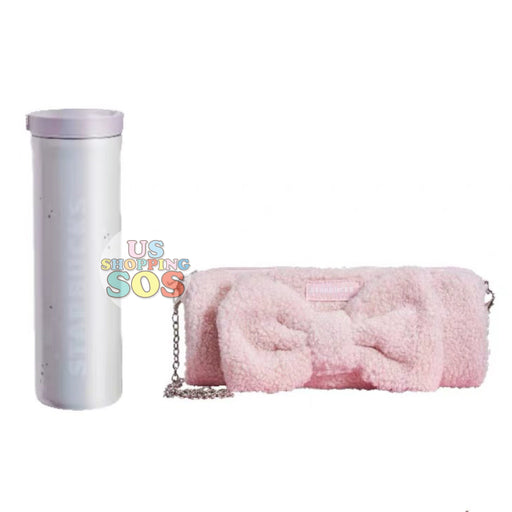 Starbucks China - Valentine 2020 - Love & Peace Fluffy Pink Bag & Stainless Steel Bottle (473ml)