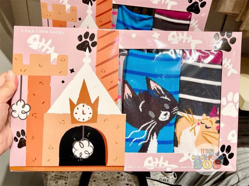 DLR - Disney Reigning Cats & Dogs 🐾 - Disney Cats 4-Pair Crew Socks Box