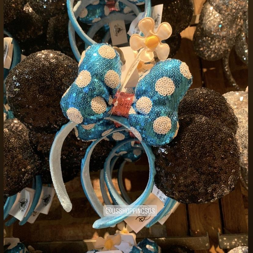 DLR - Minnie Timeless Sequin Ear Aqua Polka Dot Bow Flower Headband