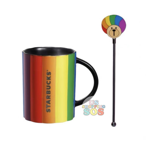 Starbucks China - Valentine 2020 - Rainbow Mug with Rainbow Clown Hair Bearista Stir (300ml)
