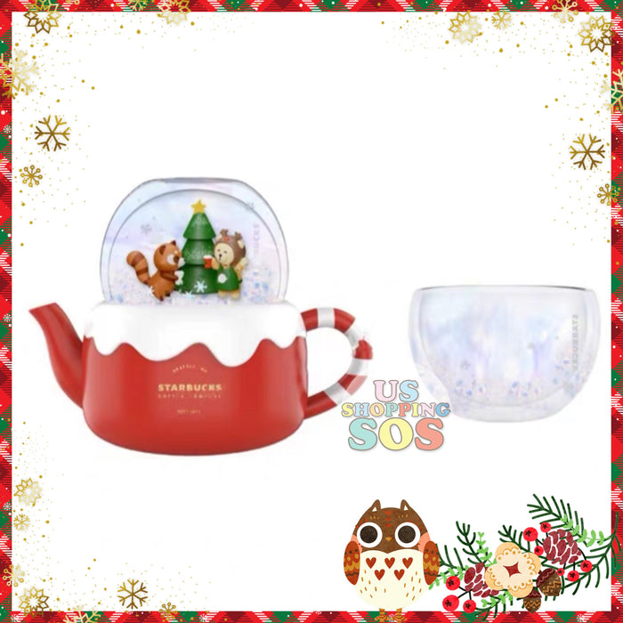 Starbucks China - Christmas Time 2020 (Store 1st Series) - Christmas Tree Greeting Tea Pot & Cup