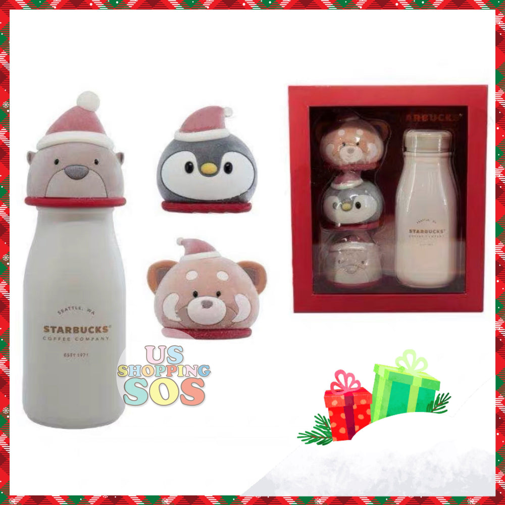 Starbucks China - Christmas Time 2020 (Store 1st Series) - 3 Animal Caps Stainless Steel Bottle Set 237ml