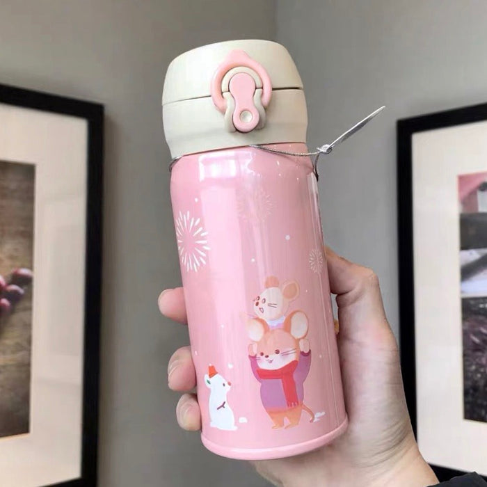 Starbucks China - New Year 2020 Mouse Vacation - 350ml Thermos Happy Family Stainless Steel Bottle