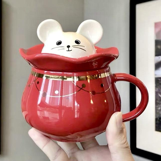 Starbucks China - New Year 2020 Classic Red - 12oz Lucky Mouse In Money Pocket Mug with Lid