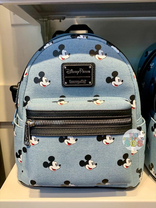 DLR - Loungefly Classic Mickey Face Icon All-Over-Print Backpack (Denim)