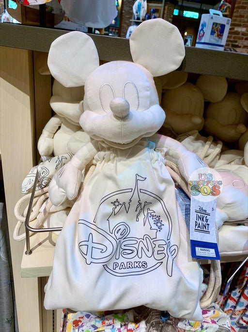 DLR - Ink & Paint - Color Yourself Mickey Plush & Drawstring Bag with Markers