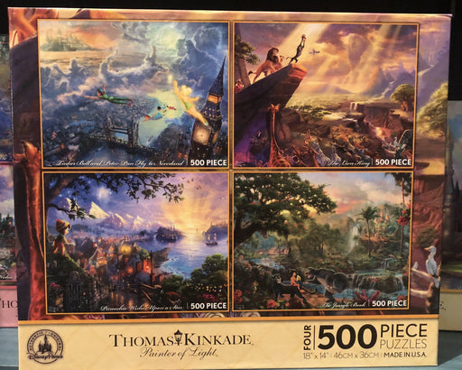 DLR - 4 x 500 Piece Disney Parks Puzzle by Thomas Kinkade - Peter Pan/The Lion King/Pinocchio/The Jungle Book