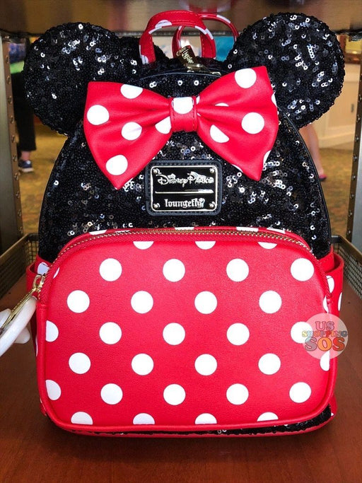 WDW - Loungefly Minnie Sequin Ear Polka Dot Backpack
