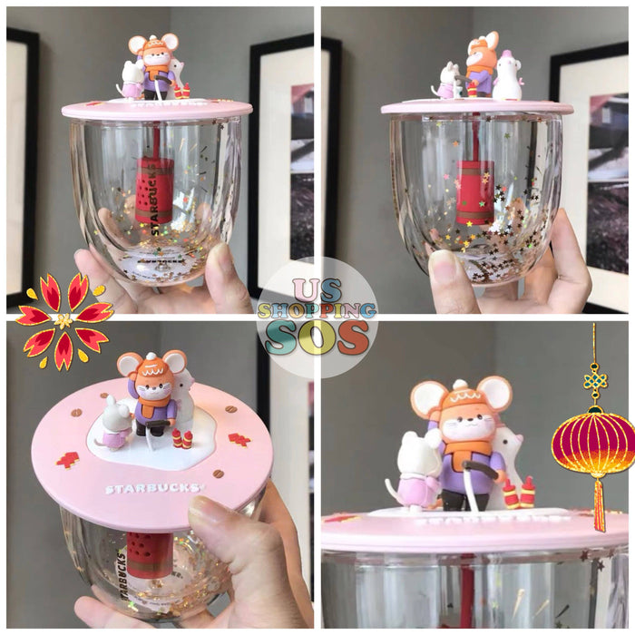 Starbucks China - New Year 2020 Mouse Vacation - 14oz Glass with Cutie Mouse Lid & Tea Infuser