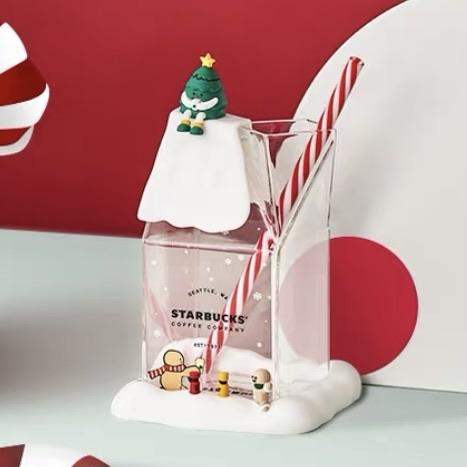 Starbucks China - Christmas Time 2020 Cuteness Overload - Milk Box Glass 480ml