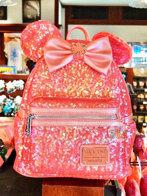 Aulani - Loungefly Minnie Sequin Backpack (Ariel's Grotto Coral)