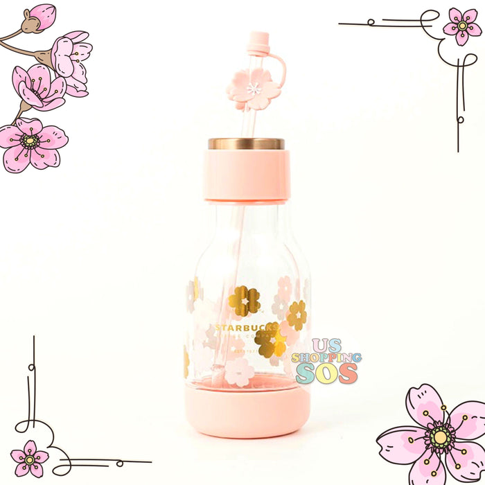 Starbucks China - Sakura 2021 - Cherry Blossom Double Wall Glass Topper Straw Bottle 300ml