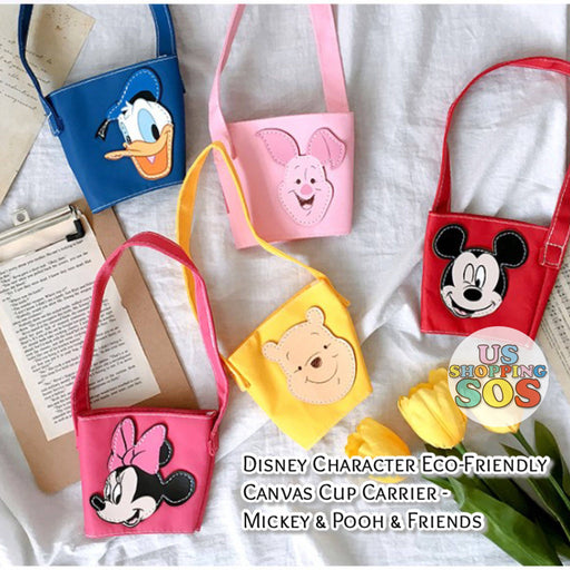Taiwan Exclusive - Disney Character Eco-Friendly Canvas Cup Carrier - Mickey & Pooh & Friends