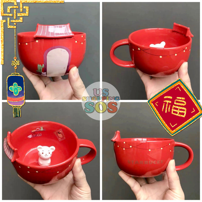Starbucks China - New Year 2020 Classic Red - 12oz Little Mouse Home Sweet Home Mug