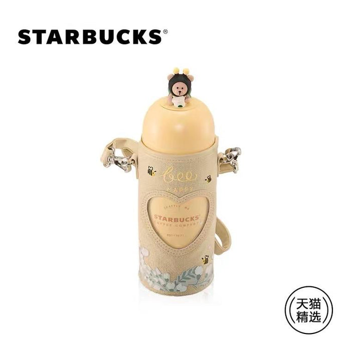 Starbucks China - Valentines Bee Mine - Bearista Honey Bee Stainless Capsule-Shape Bottle with Carrier 360ml