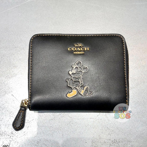 WDW - Coach Hand Painted Minnie Small Round Zip Wallet Black