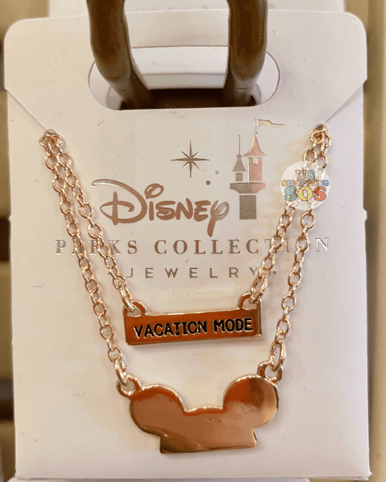"DLR - Disney Parks Jewelry - Mickey Ear Hat ""Vacation Mode"" Necklace (Gold)"