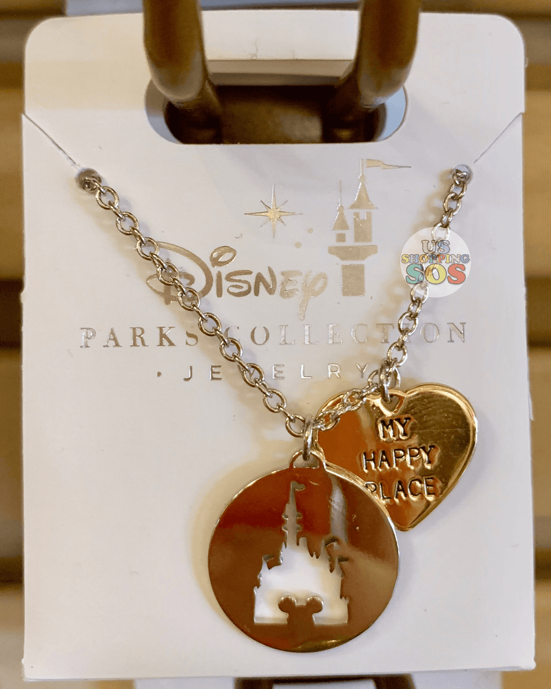 "DLR - Disney Parks Jewelry - ""My Happy Place"" Castle Necklace (Gold)"