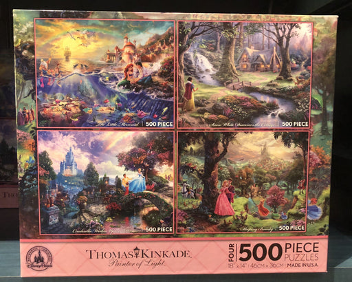 DLR - 4 x 500 Piece Disney Parks Puzzle by Thomas Kinkade - The Little Mermaid/Snow White/Cinderella/Sleeping Beauty