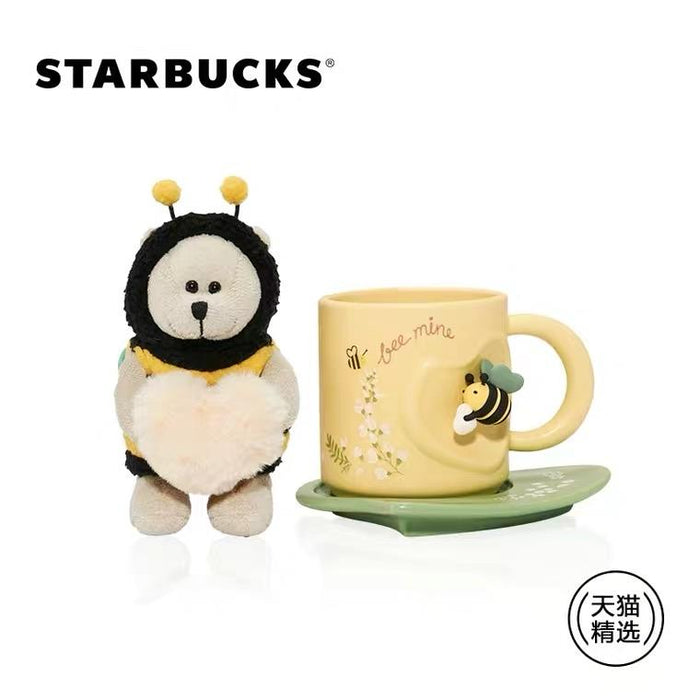 Starbucks China - Valentines Bee Mine - Bearista Honey Bee Plush Keychain Mug Saucer Set 290ml