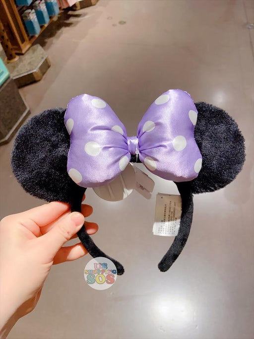 SHDL - Purple Dot Bow Minnie Mouse Ear Headband