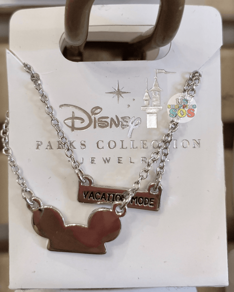 "DLR - Disney Parks Jewelry - Mickey Ear Hat ""Vacation Mode"" Necklace (Silver)"