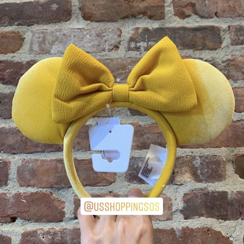 DLR - Minnie Mustard Velvet Ear Fabric Bow Headband