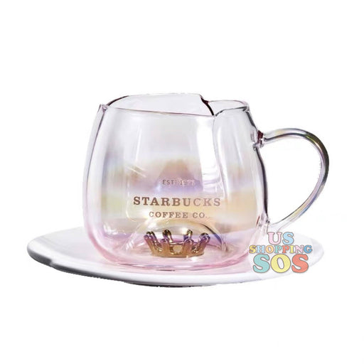 Starbucks China - Valentine 2020 - Love & Peace Tiara Petal Glass with Saucer (296ml)
