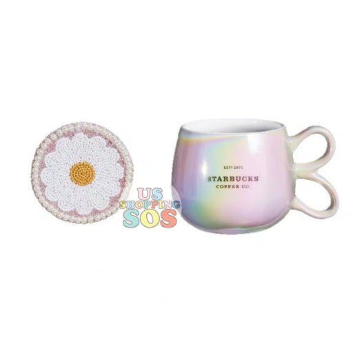 Starbucks China - Valentine 2020 - Love & Peace Pearl Flower Lid Rainbow Iridescent Mug (355ml)