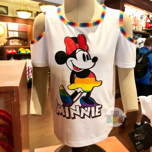 "WDW - Rainbow Collection - Minnie ""Walt Disney World"" Shoulder Cutout White T-shirt  (Youth)"