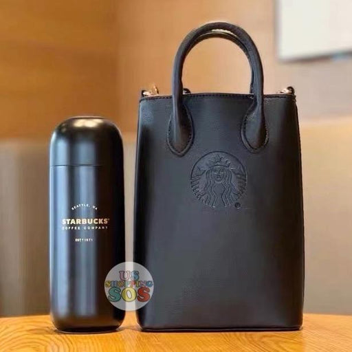 Starbucks China - Christmas Time 2020 Dark Bling Series - Capsule-Shape Stainless Steel Bottle 360ml with Leather Crossbody Bag