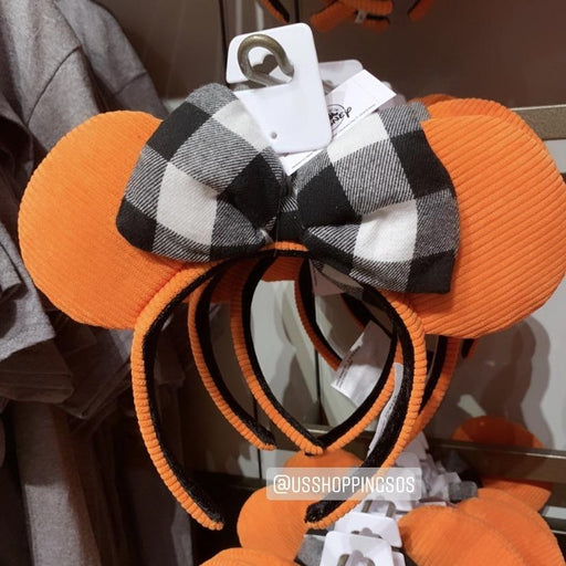 DLR - 🎃 Halloween Time 2020 - Minnie Pumpkin Corduroy Ear Plaid Bow Headband