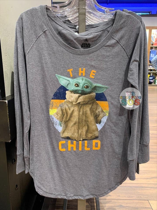 "DLR - Star Wars ""The Child"" Baby Yoda Raglan Long Sleeve T-shirt (Adult) (Heather Grey)"