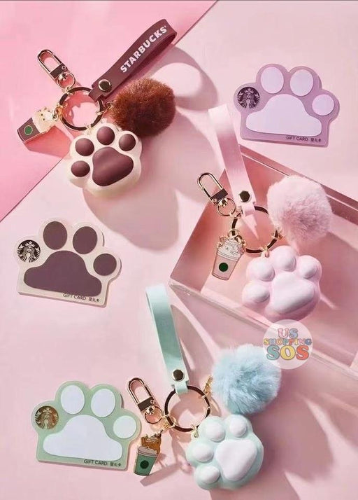 Starbucks China - Sakura 2021 - Kitty Paw Keychain & Starbucks Gift Cards (No Cash Value)