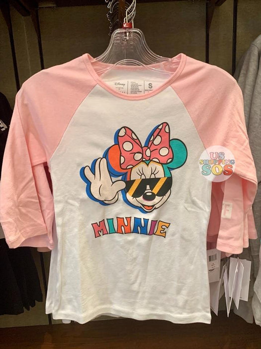DLR - Neff Mickey & Minnie Color Story Graphic Raglan 3/4 Sleeve T-shirt (Adult) - Minnie (Pink/White)