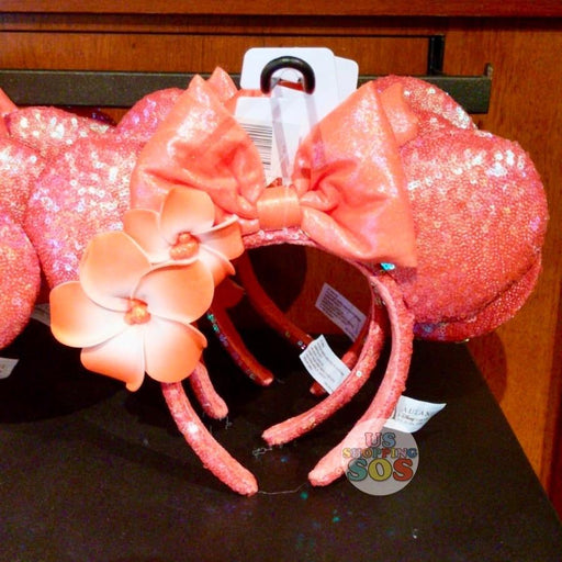 Aulani - Minnie Sequin Headband with Plumeria (Ariel's Grotto Coral)