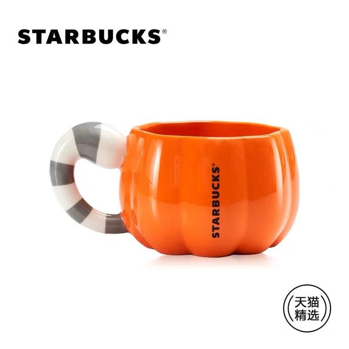 Starbucks China - Halloween 2020 - White Cat Plush Toy in Pumpkin Mug 265ml