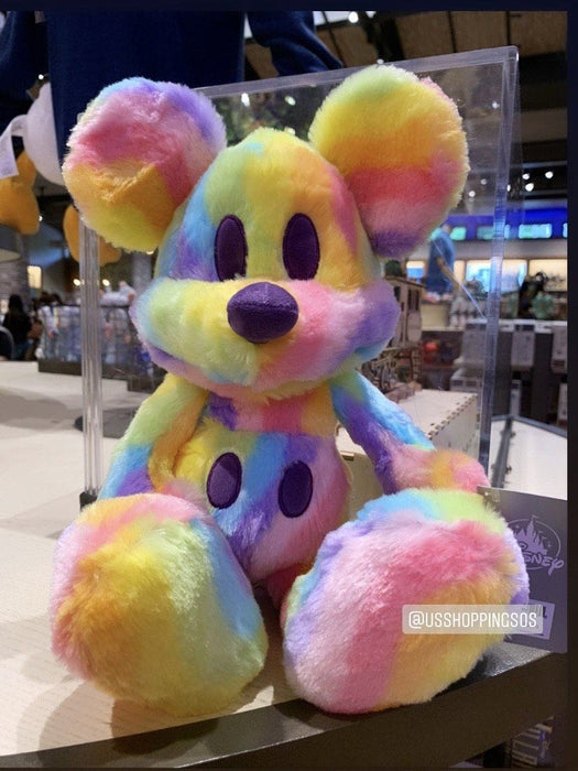 DLR - Mickey Mouse Rainbow Candy Fluffy Plush Toy