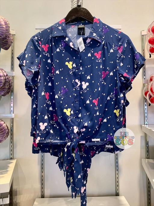 DLR - Her Universe All-Over-Print Tie-Front Button-Up Shirt - Mickey Balloons