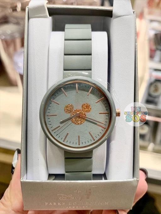 DLR - Disney Parks Jewelry - Rose Gold Mickey Icon Watch Grey Band