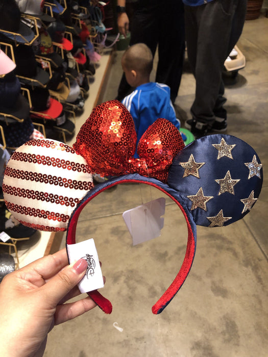 HKDL - Sequin Minnie Ear Headband x Blue, Red & White